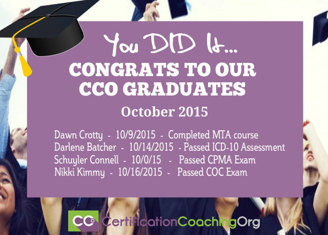 October 2015 CCO graduates and exam passers