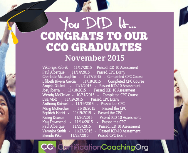 November 2015 CCO Graduates and Exam Passers — Week 4