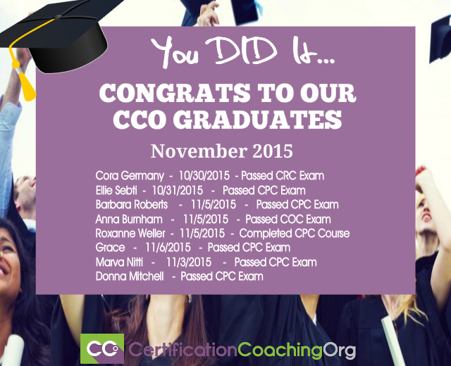 November 2015 CCO Graduates and Exam Passers — Week 2