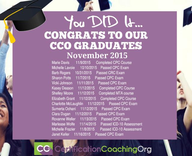 November 2015 CCO Graduates and Exam Passers