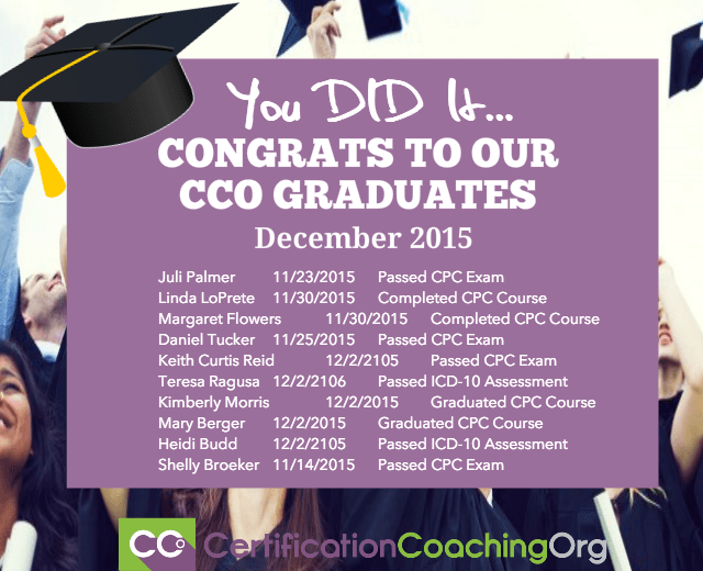 December 2015 CCO Graduates and Exam Passers - Week 2