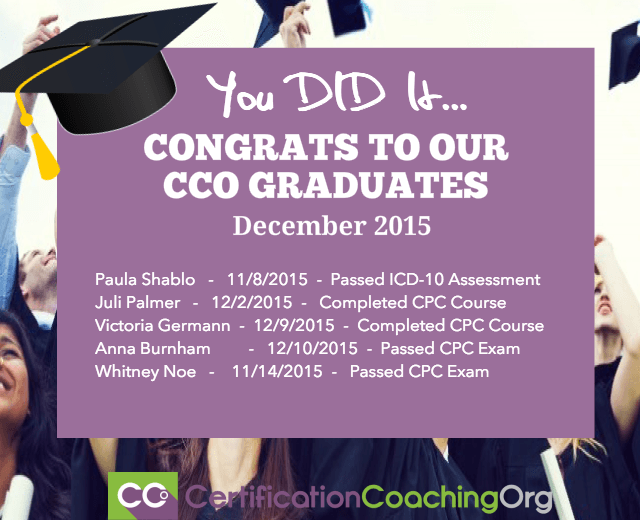 December 2015 CCO Graduates and Exam Passers — Week 3