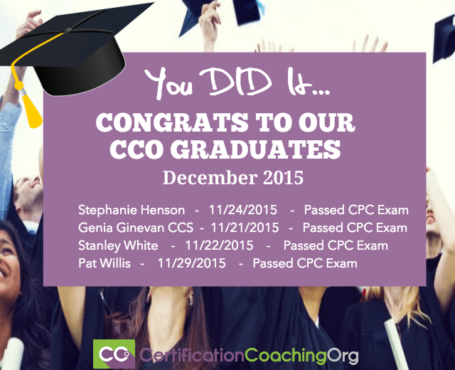 December 2015 CCO Graduates and Exam Passers Week 1