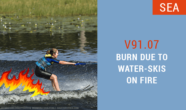 Burn Due To Water-Skis on Fire ICD-10 Code