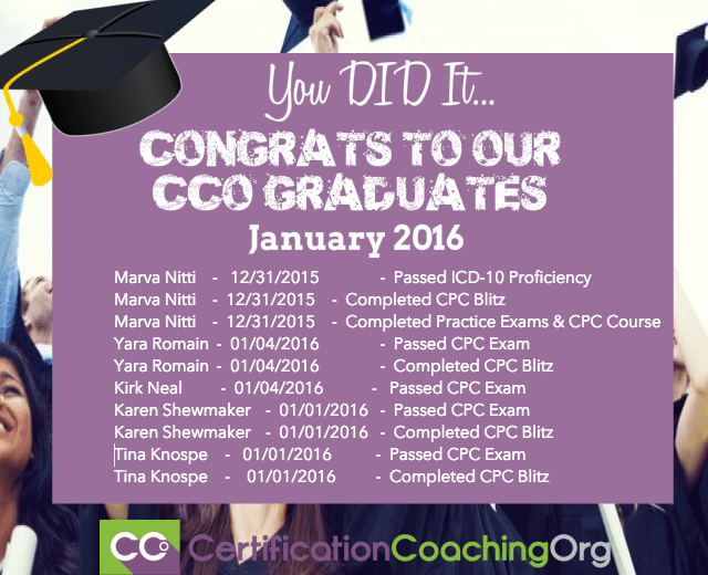 January 2016 CCO Graduates and Exam Passers
