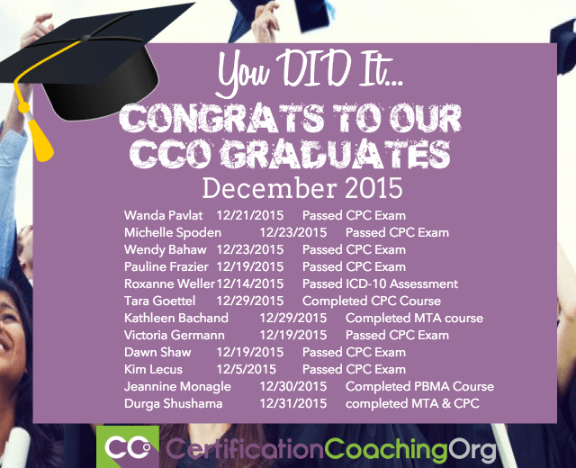December 2015 CCO Graduates and Exam Passers FINAL - Certification Coaching Medical Coding