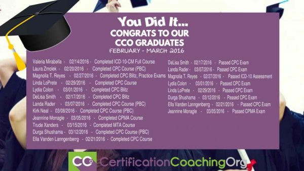 March 2016 CCO Graduates and Exam Passers