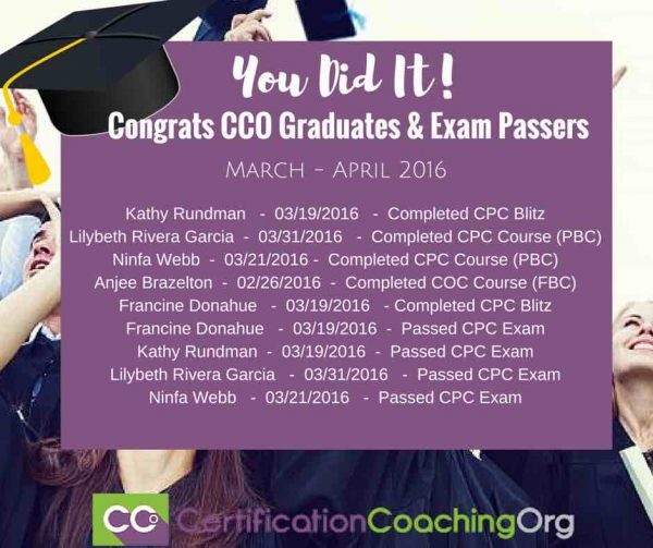 April 2016 CCO Graduates and Exam Passers
