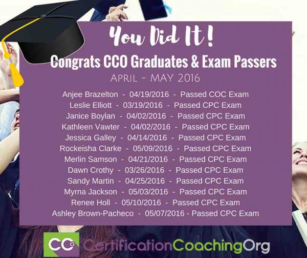 May 2016 CCO Graduates and Exam Passers