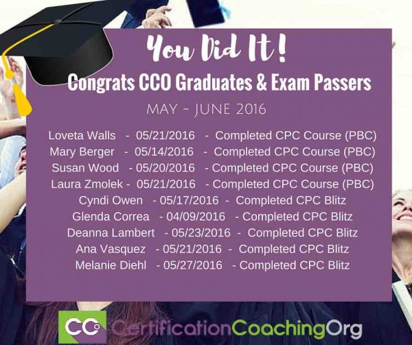June 2016 CCO Graduates and Exam Passers Week 1