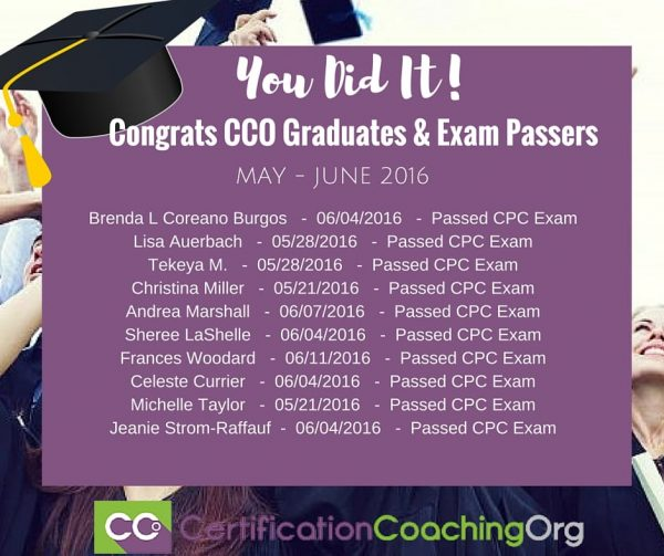 June 2016 CCO Graduates and Exam Passers Week 4