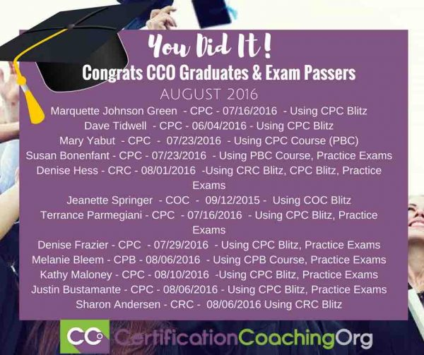 August 2016 CCO Graduates and CPC Exam Passers - Week 1