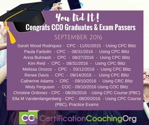 September 2016 CCO Graduates and CPC Exam Passers