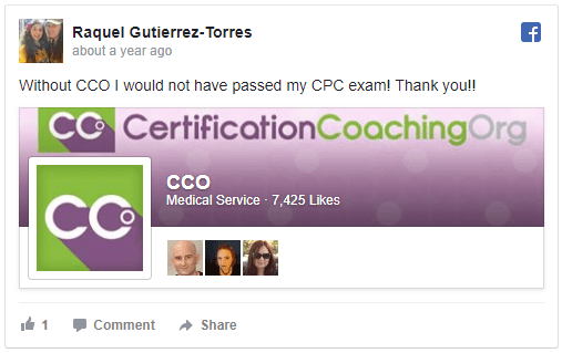 """Raquel Gutierrez-Torres says """"Without CCO I would not have passed my CPC exam! Thank you!!"""""""